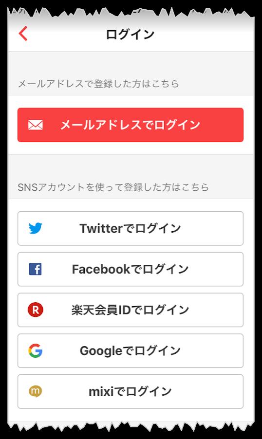 ラクマのログイン画面